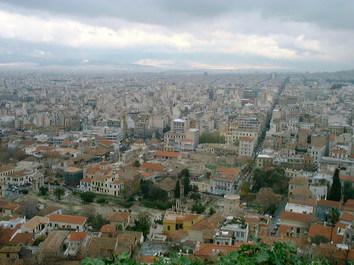 アクロポリスから見下ろすアテネの町並み