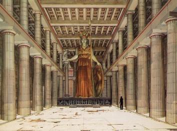 神殿内とアテナ女神像の想像図